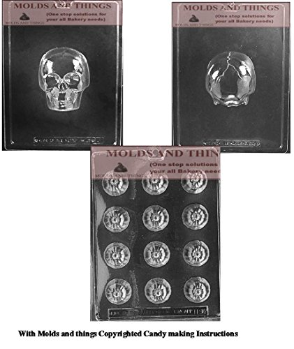SMILING PUMPKIN LOLLY Chocolate Candy Mold & Medium 3D Skull Chocolate Candy Mold Halloween candy mold with copywrited molding Instructions]()