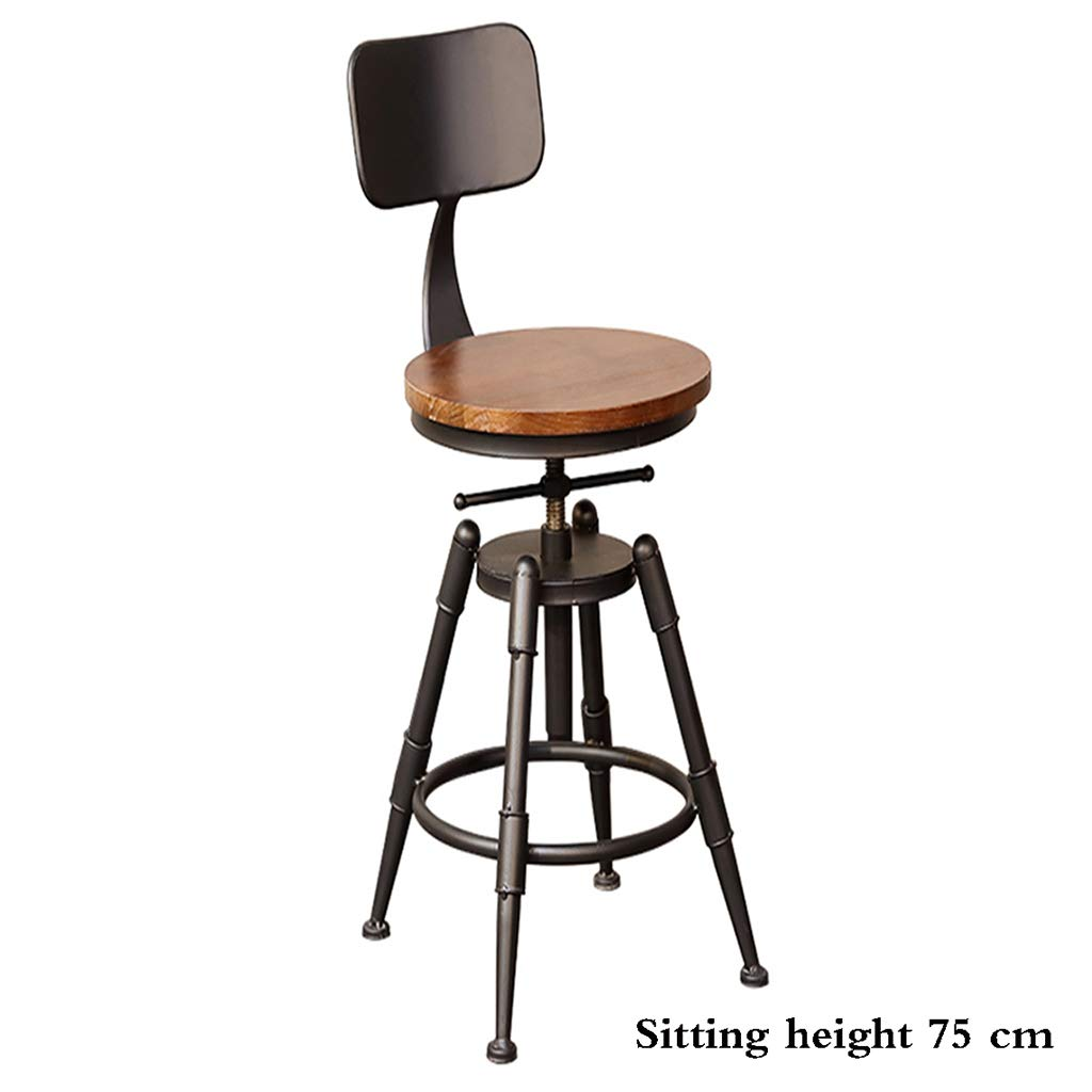 Solid wood 75cm Bar stool, Solid Wood Wrought Iron high Chair Retro Industrial Wind revolving Stool Lifting backrest Stool Cafe PU Leather Sitting 45-75 cm high antirust