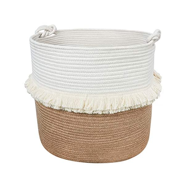 "Large Woven Storage Baskets – 16"" x 16"" Cotton and Jute Rope Decorative Hamper for Nursery, Toys, Blankets, and Laundry, Cute Tassel Nursery Decor – Home Storage Container"