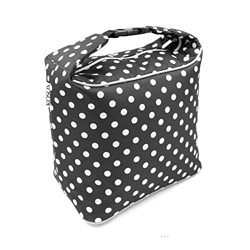 Box Dot Polka Lunch - Lunch Bag for Women, KOSOX Thermal Insulated Oxford Lunch Box, Portable Cooler Tote for Woman Lady Girls Original Design with Shouler Strap (Polka Dot, Black White)