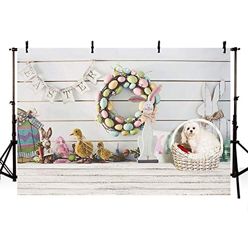 MEHOFOTO 7x5ft Happy Easter Bunny Party Decorations Backdrop Colorful Eggs Rabbit Basket Dog Chick Wood Photography Background Photo Banner ()