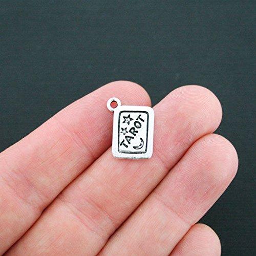 (6 Tarot Card Charms Antique Silver Tone - SC130)