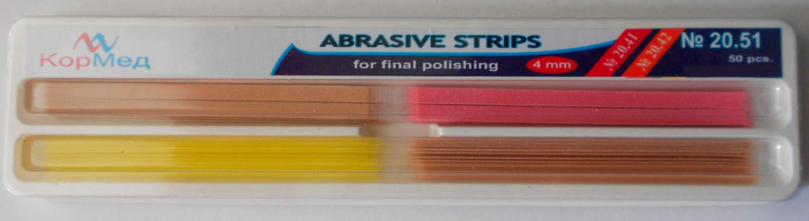 Dental Abrasive Strips for Contouring (gross reduction/contouring/finishing) 50 pcs (Cormed) (4 mm wide)