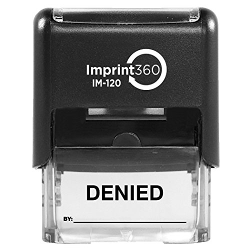 Imprint 360 DENIED Stamp with By: Line,Heavy Duty Commercial Self-Inking Rubber Stamp,