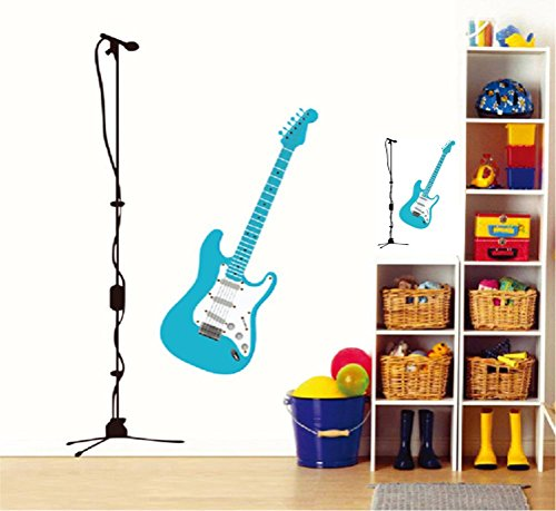 BIBITIME Blue Guitar Wall Sticker for Bedroom Microphone Vinyl Decal Rock Music Fans Living Room Background Decorations PVC Decor Mural DIY 33.46
