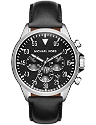 Michael Kors MK8442 Gage Chronograph Black Dial Black Leather Mens Watch