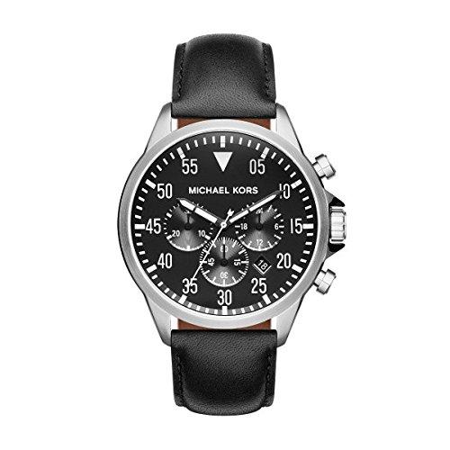 Michael Kors MK8442 Gage Chronograph Black Dial Black Leather Men's - In The Uk Kors Michael