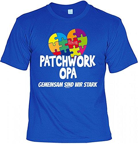 T-Shirt Grossvater - Patchwork Opa gemeinsam stark - Geschenk Idee mit Humor zum Vatertag Opatag Geburtstag - royalblau