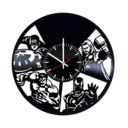 Marvel Avengers Superheroes Vinyl Record Wall Clock - Get unique home room wall decor - Gift ideas for adults, teens or youth – DC Comics Design Unique Fan Art