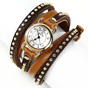 Valentino Rudy Round Face Leather Strap Water Resistant Bracelet Watch - No. 2302 (Dial White, Band Color Brown)