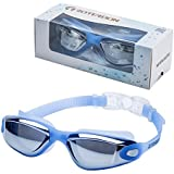 ROTERDON Swimming Goggles, Swim Goggles Adults Anti Fog Water Proof Kids Eyes UV Protection Mirrored Racing Water Goggle for Men Women Children Youth Junior from Swim On Line Store(Blue 300)
