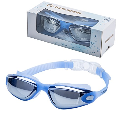 ROTERDON Swimming Goggles, Swim Goggles Adults Anti Fog Water Proof Kids Eyes UV Protection Mirrored Racing Water Goggle for Men Women Children Youth Junior from Swim On Line Store(Blue 300) ()