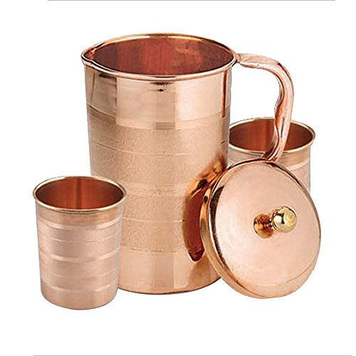 Zap Impex Pure Copper Luxury Jug with 2 glass jars Accessories Good Health Healing, capacity 1600 - Accessories Jug