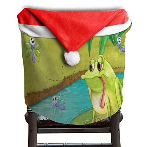 MECIKR Christmas Chair Covers Sad Frog Bee Pond Santa Hat Seat Back Cover Decor -