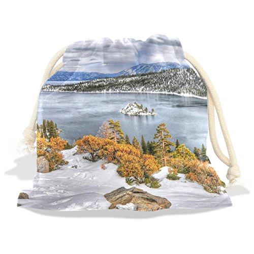 LEISISI USA Lake Seasons Winter Tahoe Calif Durable Cotton Drawstring Tote Bags Fashion gift bags 6x8 (Calif Leaf)