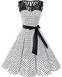 Bbonlinedress Women's 1950s Vintage Rockabilly Swing Dress Lace Cocktail Prom Party Dress White Black Dot S