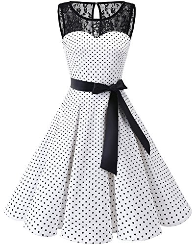 Dress White Dress Swing Women's Black Lace Rockabilly Party Prom Cocktail Bbonlinedress Vintage Dot 1950s wvxnHB
