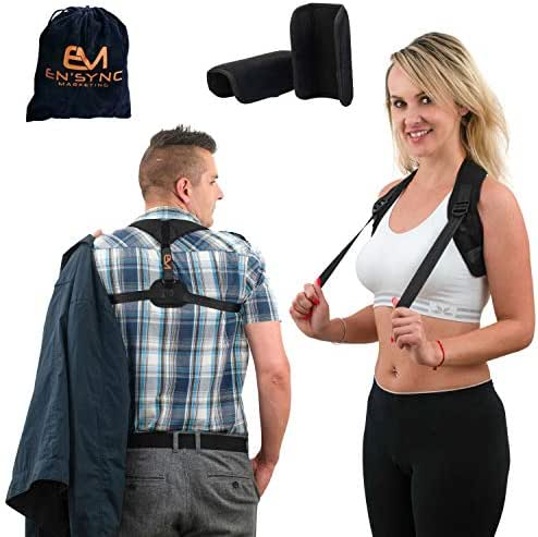 Posture Corrector for Men and Women-USA Designed Adjustable Upper Back Brace Provides Neck Pain Relief for Thoracic Kyphosis-Improving Bad Posture from Slouching with Spine Support-Chest Size 27