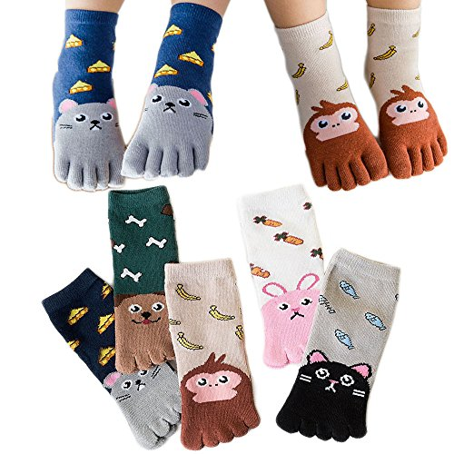 Children Sock Kawaii Cartoon Pattern Cotton Toe Socks for Kids 3-12 Years Old Pack of 5 (Color 1, 7-12 Years) (Girls Socks Toe)