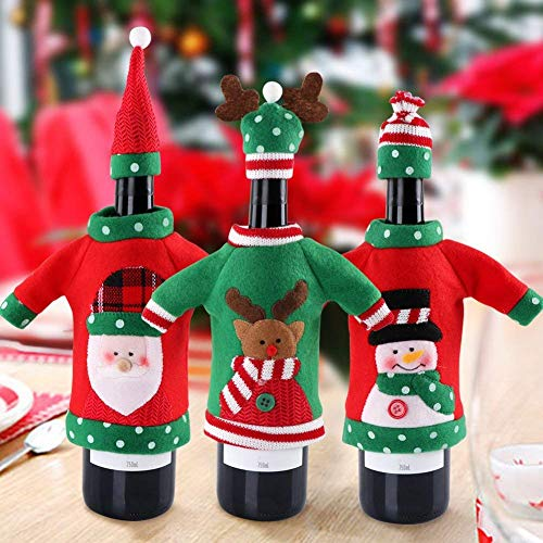 Knitted Sweater Ornaments - CHDHALTD 3 Pcs Ugly Sweater Christmas Wine Bottle Cover Holiday Wine Bottle Sweater Christmas Decorations, Wine Bottle Dress Table Decoration