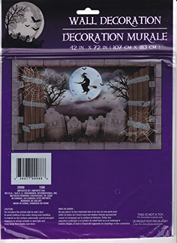 [Wall Decor Scary Skeleton Dungeon Halloween Door Cover Creepy Mural Prop Party Decoration (Halloween Flying] (Scary Halloween Witches)