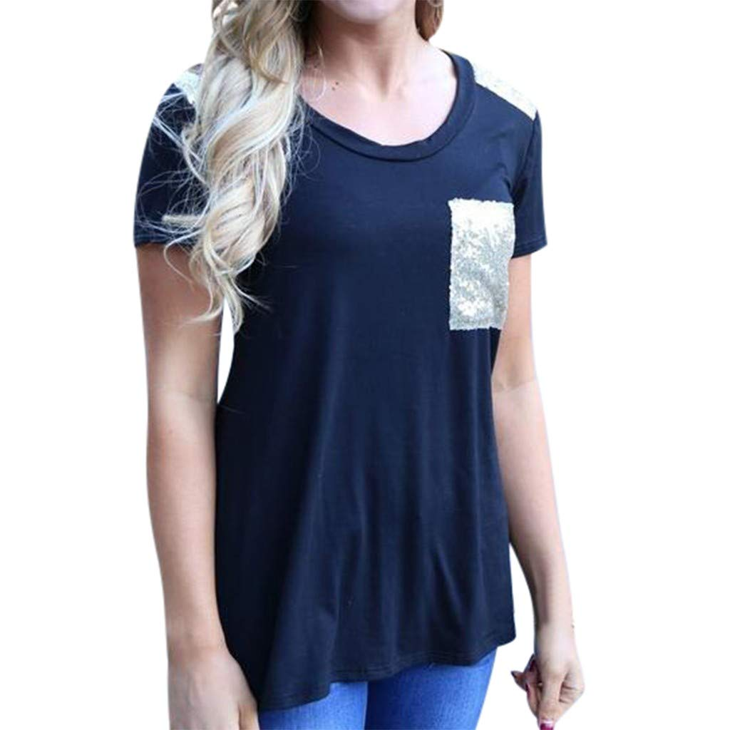 T Shirt for Women,Casual Tee Shirt Ladies Blouses Tunic Tops Solid Color with Pocket Navy