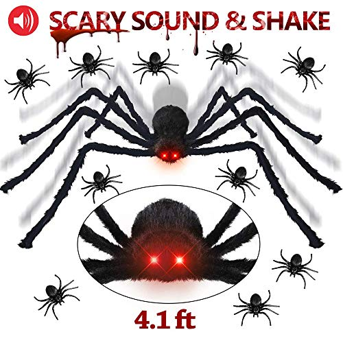 Make Your Own Outdoor Halloween Decorations (LetsFunny Spider Decorations Giant Scary Halloween Spider, Fake Large Hairy Poseable Props Outdoor Decor Yard Spiders for Halloween Decorations, with 10 Little Spiders(Not Include)