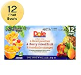 DOLE FRUIT BOWLS No Sugar Added Peaches, Mandarin Oranges, and Cherry Mixed Fruit Variety Pack 4 Ounce Cups, 12 Count