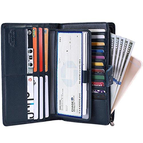 Itslife Women's Big Fat Rfid Leather wallet clutch organizer checkbook holder (Deep Blue)