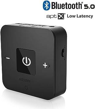 Digital /Óptico de Toslink y Latencia Baja AptX para Auriculares Coche y TV Transmisor y Receptor Bluetooth V5.0 Adaptador inal/ámbrico Bluetooth Yuanguo 2 en 1 con Puerto de Audio de 3,5 mm