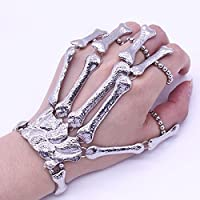 Fashion Silver Talon Skeleton Hand Finger Bone Bracelet Ring Gothic Skull