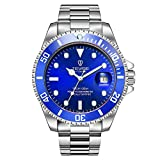 Men's Submariner Automatic Mechanical Watches with Automatic Date Luminous Waterproof Stainless Steel Watch for Men (Blue)