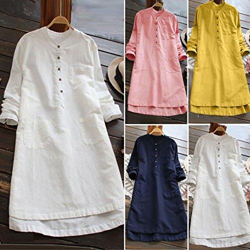 Blanc Shirt t Mini Femmes Couleur Grande Robe Casual Retro Shirt Neck Mode V Blouse lin Button taille Blouse Bouton chemise et T manches Moonuy Tops Femme unie Pullover Loose Coton longues AxZaZz