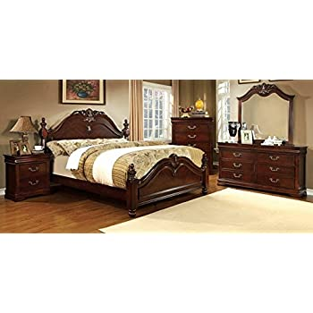 Amazon.com: 4pc King Size Bedroom Set in Brown Cherry Finish ...