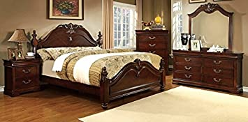 5 Pc Mandura Collection Luxurious English Style Cherry Finish Wood Queen Bedroom Set With Ornamental Headboard And Footboard