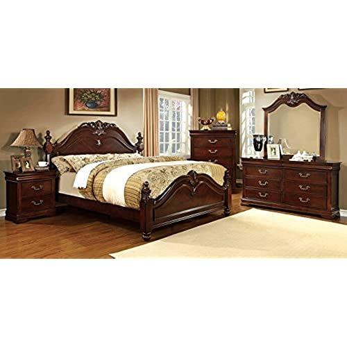 Beautiful 5 Pc Mandura Collection Luxurious English Style Cherry Finish Wood Queen  Bedroom Set With Ornamental Headboard And Footboard