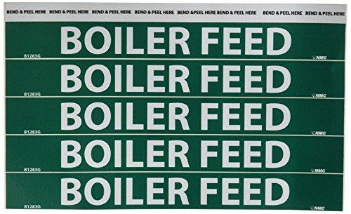 White on Green LegendBOILER FEED Pack of 25 9 Length x 1 Height NMC B1283G Pipemarkers Sign 3//4 Letter Size Pressure Sensitive Vinyl