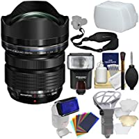 Olympus M.Zuiko 7-14mm f/2.8 PRO ED Digital Zoom Lens (Black) with Flash + Diffusers + Sling Strap + Kit for Four-Third Cameras