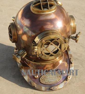 - NAUTICALMART Antique Full Copper & Brass Diving Helmet Divers Helmet Us Navy Mark V