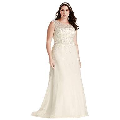 David\'s Bridal Jewel Cap Sleeve Pearl Plus Size Wedding Dress Style ...