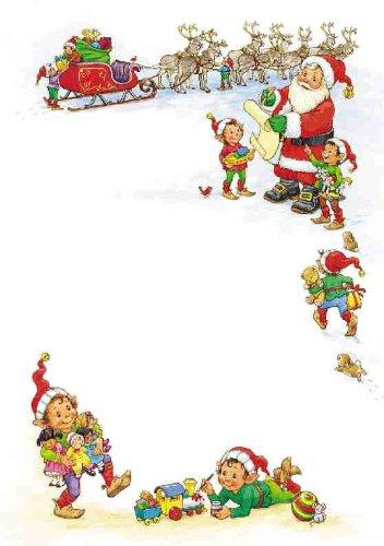 Le Lettere Di Babbo Natale.25 Fogli Di Carta Da Lettera Formato A5 Motivo Natalizio Lista Di