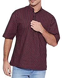 Shalinindia Men Cotton Printed Short Kurta Mandarin Collar ,Black Size-38 Inch