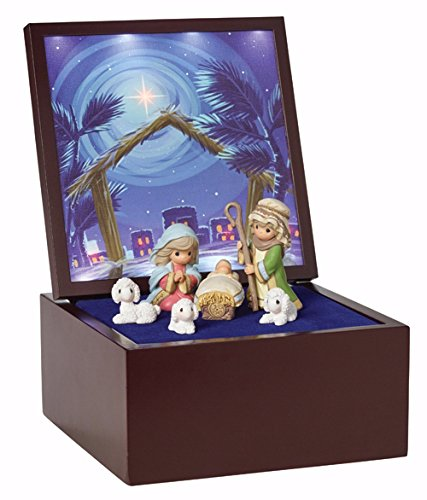 "Precious Moments, Christmas Gifts, ""Heirloom Nativity Set Deluxe Music Box"", LED Stars, Plays Silent Night, #161106"