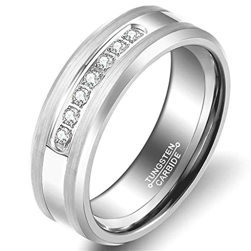 GnZoe 8MM Men's Tungsten Ring Wedding Band with Flat Brushed Top and Channel Set CZ Silver Size - Gem Rainbow Channel Set