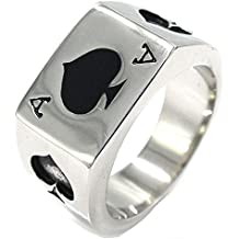 JAJAFOOK Men's Stainless Steel Ring, Poker Spade Ace, Black Silver,Sizes 7-14