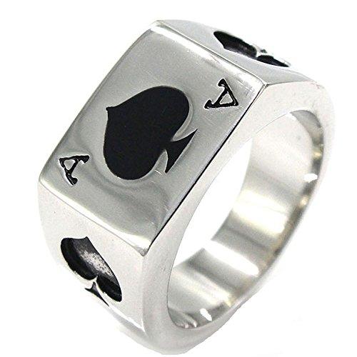 (JAJAFOOK Men's Stainless Steel Ring, Poker Spade Ace, Black Silver,Sizes 7-14)