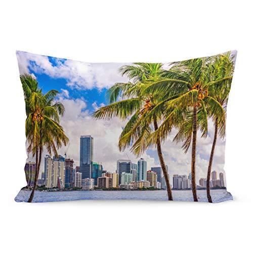 Semtomn Throw Pillow Covers Beach Miami Florida USA Tropical Downtown Skyline Palm City Tree South Pillow Case Cushion Cover Lumbar Pillowcase Decoration for Couch Sofa Bedding Car 20 x 26 inchs ()