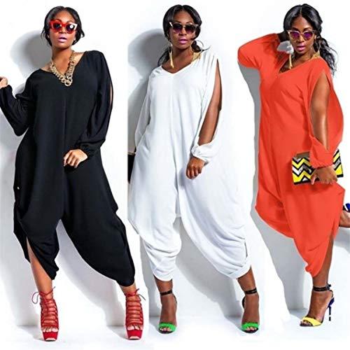 Kalinyer Women Elegant Jumpsuits,Women Loose Solid Color V Neck Long Sleeve Hollow Out Jumpsuit Playsuit(Black,XXXXXL) by Kalinyer (Image #7)