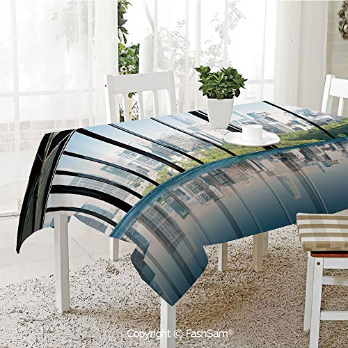 AmaUncle Party Decorations Tablecloth Metropolitan Cityscape of New York USA in Central Park Forest Photo Kitchen Rectangular Table Cover (W60 xL104)