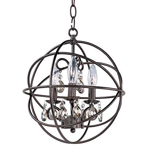Maxim 25140OI Orbit 3-Light Pendant Single-Tier Chandelier, Oil Rubbed Bronze Finish, Glass, CA Incandescent E12 Incandescent Bulb , 2.4W Max., Damp Safety Rating, 3000K Color Temp, Standard Triac/Lutron or Leviton Dimmable, Clear + Bubble Glass Shade Material, 336 Rated Lumens
